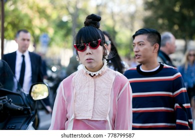 PARIS-OCTOBER 3, 2016. Susie Lau is going to a fashion show during Paris fashion week.Ready to wear.