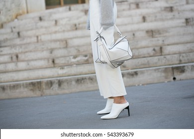 PARIS-OCTOBER 4, 2016. Street fashion. Shoes Close-up. Street style ready to wear. Paris fashion week