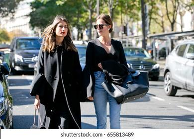 PARIS-OCTOBER 4, 2016. Street style fashion during Paris fashion week, ready to wear.