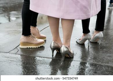 PARIS-OCTOBER 5, 2015. Street fashion shoes during Paris Fashion week. Ready to wear.