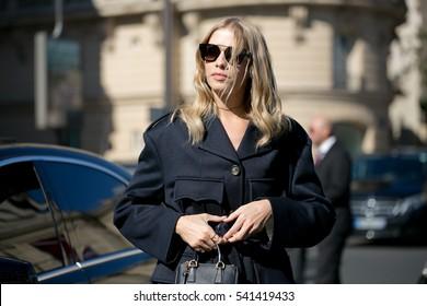 PARIS-OCTOBER 5, 2016. Elena Perminova during the Paris fashion week.Ready to wear.
