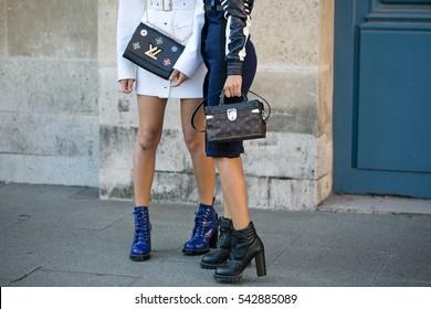 PARIS-OCTOBER 5, 2016. Street fashion. Bag's Close-up. Street style ready to wear. Paris fashion week. Louis Vuitton.