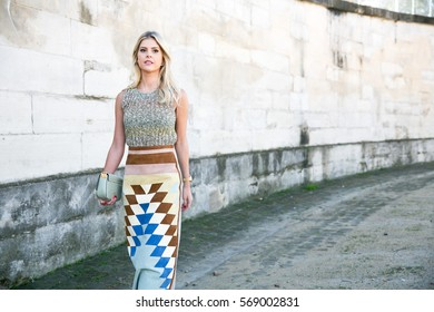PARIS-OCTOBER 6, 2015. Brazilian blogger and founder, Lala Rudge is going to a fashion show.Paris fashion week, Ready to wear.