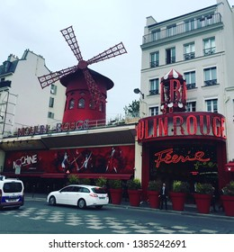 Paris,Paris/France-September 2018- View of the notorious Moulin Rouge cabaret which held a famous dancing show since 1899.