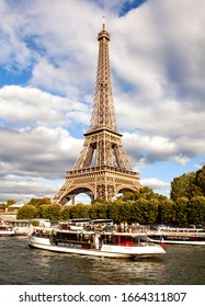 PARIS-SEP 20,2019: The Eiffel Tower  is a wrought-iron lattice tower on the Champ de Mars in Paris, France. It is named after the engineer Gustave Eiffel, whose company designed and built the tower.