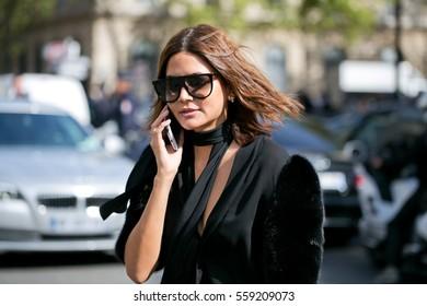 PARIS-SEPTEMBER 28, 2016. Christine Centenera, Vogue Australia fashion editor, is going to a fashion show during Paris Fashion week. Ready to wear.