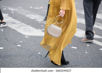 PARIS-SEPTEMBER 28, 2017. Street style meanwhile Paris fashion week. Ready to wear