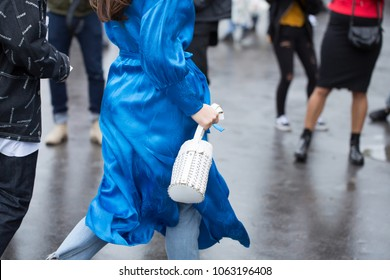 PARIS-SEPTEMBER 28, 2017. Street style meanwhile Paris fashion week. Ready to wear