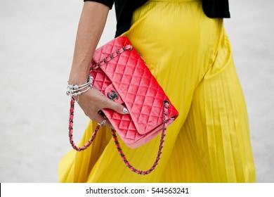 PARIS-SEPTEMBER 29, 2016. Street style fashion. Bag detail. Ready to wear, Paris fashion week.