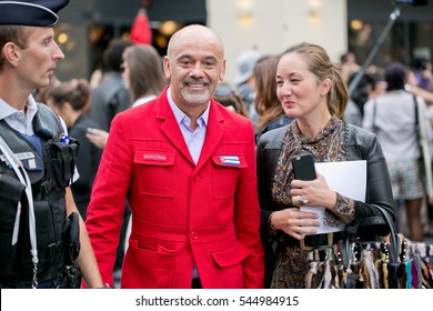 PARIS-SEPTEMBER 30, 2016. Christian Louboutin is going to Dior fashion show. Ready to wear. Paris fashion week.