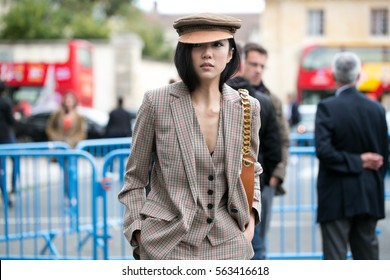PARIS-SEPTEMBER 30, 2016. Yoyo CAO is going to a fashion show.Paris fashion week. Ready to wear.