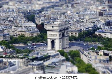 Paris.Tilt-Shift model/ Realistic Miniaturized model of Arch of Triumph