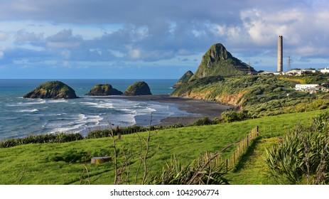 Paritutu Rock and nearby rock islands in New Plymouth, New Zealand