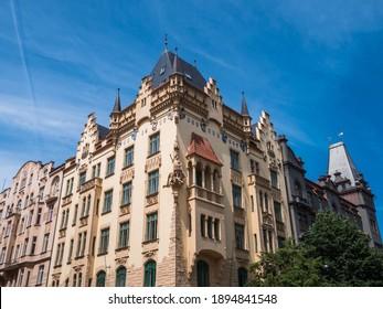Parizska 97 15 Neo-Renaissance Mansion in Prague, Czechia designed in 1905 by Jiri Justich, a Belle Epoque Building in the Josefov Quarter. - Shutterstock ID 1894841548