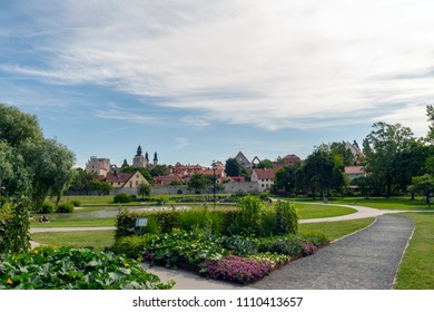 The park Almedalen in the town Visby in Sweden