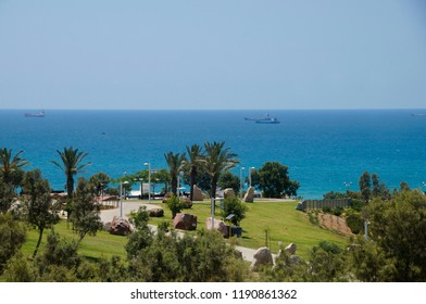 Park Ashdod-Yam, in the city Ashdod, Israel. View of the Mediterranean Sea