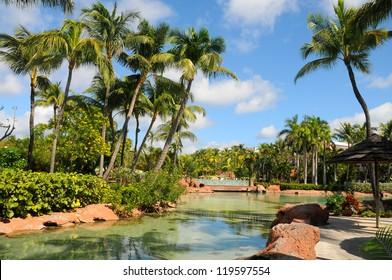Park in the Atlantis Paradise Island, Nassau, Bahamas