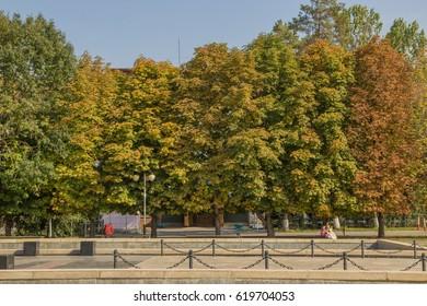 Park in autumn, Almaty city, Kazakhstan.