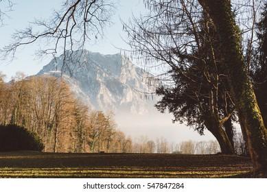 Park in autumn with Mountain Traunstein in Background. taken in Salzkammergut, Austria