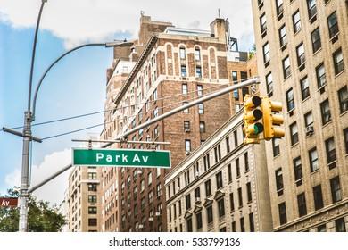 Park Ave sign in Manhattan
