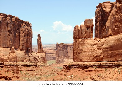 """""""Park Avenue"""" rock formations in the Arches National Park near Moab, Utah, USA."""