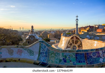 Park Güell Barcelona, Spain - 03/15/2018: The image shows the Park Güell in Barcelona.