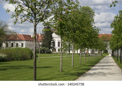 The park of the baroque building of the Grassalkovich Castle in Godollo, Hungary
