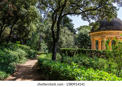park with a beautiful arbor in Barcelona. Labyrinth Park of Horta
