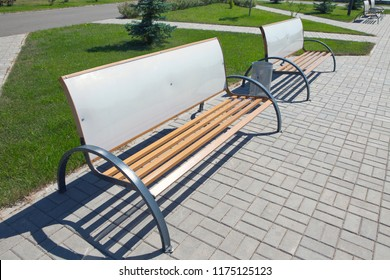 Park bench for advertising for recreation