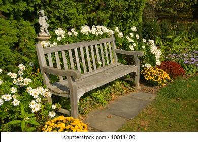 Park bench in arboretum