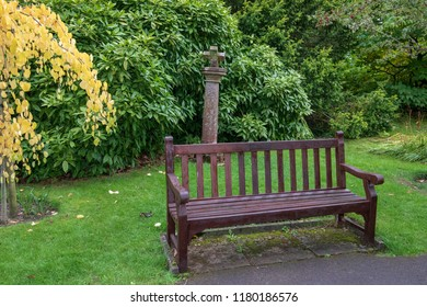 Park Bench at Bath Botanical Gardens, Bath and North East Somerset. United Kingdom