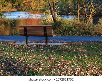 Park Bench in Fall -Seat by a pond in autumn with fallen leaves.
