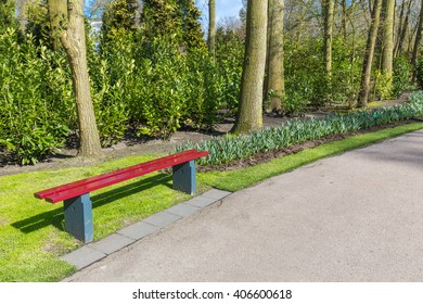 Park bench with flowers