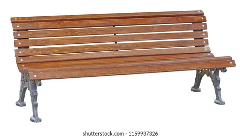 Park Bench Isolated on White Background