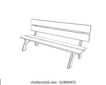 Park bench. Isolated on white background.Sketch illustration.
