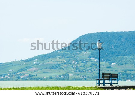 Park Bench Old Style Iron Lamp Stock Photo Edit Now 618390371