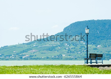 Park Bench Old Style Iron Lamp Stock Photo Edit Now 626555864