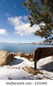 Park bench on North Shore of Lake Tahoe
