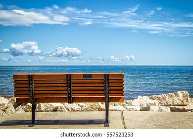A park bench overlooking the Green Bay in Wisconsin.