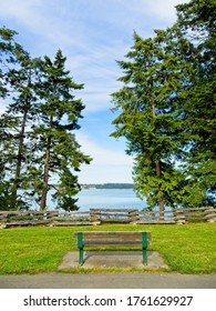 Park with bench overlooking the ocean in Saanichton on Vancouver Island, BC, Canada