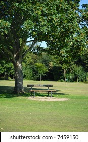 A park bench placed under a tree for shade on sunny days.