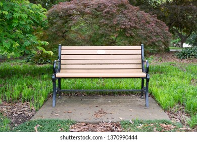 Park bench at a public garden in Raleigh, North Carolina