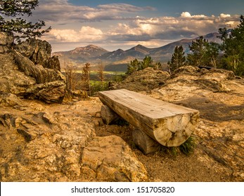 Park bench in Rocky Mountain National Park, Colorado
