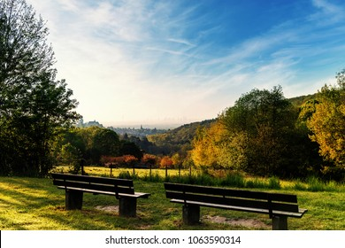 park bench with view on Frankfurt am Main