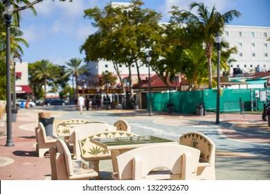 Park benches in Calle Ocho Little Havana Miami FL