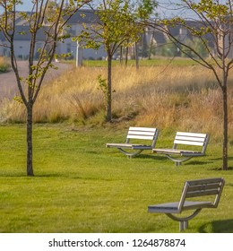 Park with benches lit by sunlight in Daybreak Utah