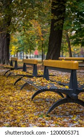 Park benches of Slovak park in Košice in the fall