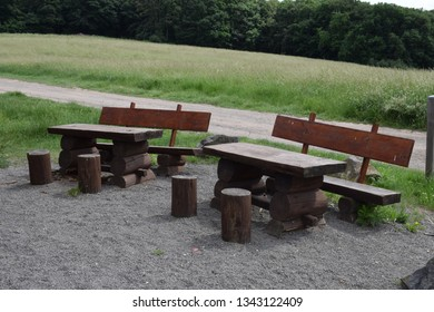 park benches in summer