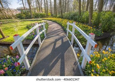 Park bridge with flowers