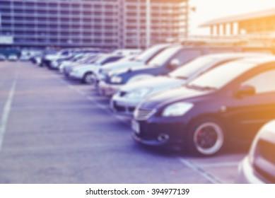 lot park car blur background